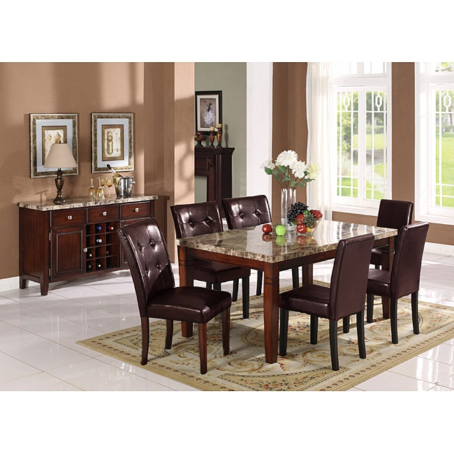 Radian Real Marble 7-piece Dining Set with Brown Chairs