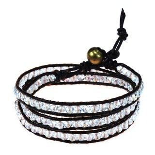 Handmade Brown Leather White Gloss Crystal Triple Wrap Bracelet (Thailand)