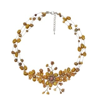 Golden Sunflower Blossom Freshwater Dyed Pearl Necklace (Thailand)