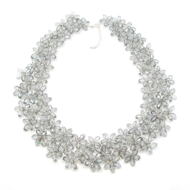 Mini Floral Lush Silver Crystal Chocker Necklace (Thailand)