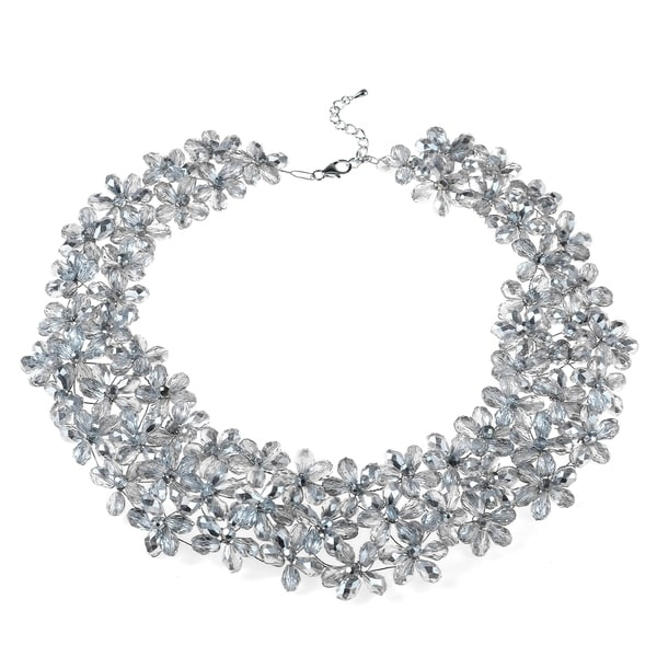 Handmade Mini Floral Lush Silver Crystal Choker Necklace (Thailand)