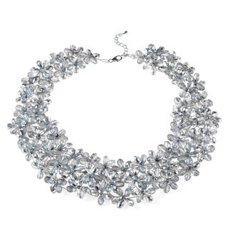 Handmade Mini Floral Lush Silver Crystal Choker Necklace (Thailand)