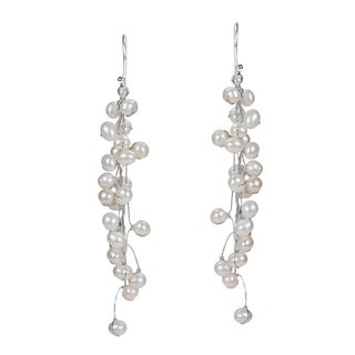 Handmade Elegantly Classy White Pearls Long Dangle Earrings (Thailand)