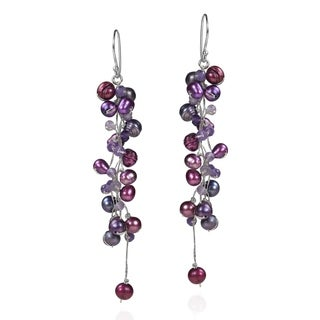 Handmade Classy Ruffles Freshwater Dyed Purple Pearl-Amethyst Stone Earrings (Thailand)