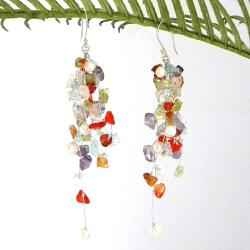 Classy Ruffles Colorful MultiStone Handmade Earrings (Thailand)