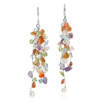 Classy Ruffles Colorful MultiStone Handmade Earrings (Thailand)