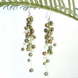 Classy Ruffles Freshwater Dyed Green Pearl-Peridot Stone Earrings (Thailand)