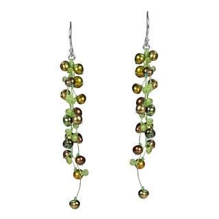 Handmade Elegantly Classy Green Pearls & Peridot Long Dangle Earrings (Thailand)