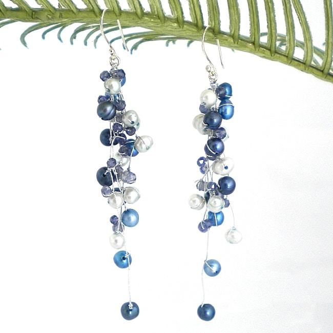 Handmade Classy Ruffles Freshwater Dyed Blue Pearl-Iolite Stone Earrings (Thailand)