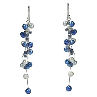 Handmade Classy Ruffles Freshwater Dyed Blue Pearl-Iolite Stone Earrings (Thailand)