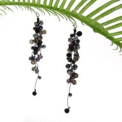Handmade Classy Ruffles Freshwater Black Pearl, Smokey Quartz Stone Earrings (Thailand)