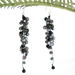 Handmade Classy Ruffles Freshwater Black Pearl, Smokey Quartz Stone Earrings (Thailand)