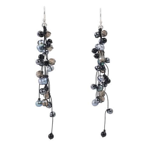 Handmade Elegantly Classy Black Pearls Quartz Long Dangle Earrings (Thailand)