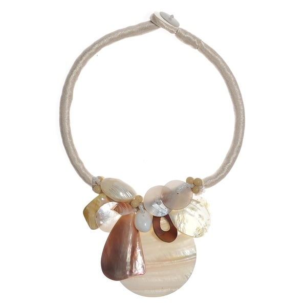 Handmade Satin Natural Shell Cluster Toggle Necklace (Thailand)