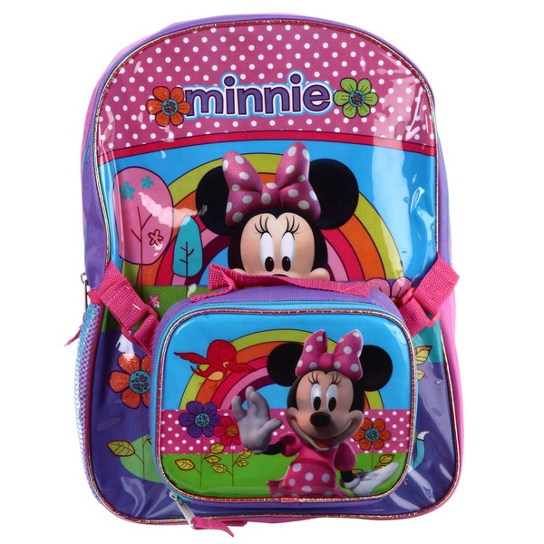 713b373ae4d Shop Disney  Minnie Mouse  16-inch Backpack with Lunch Bag - Free ...