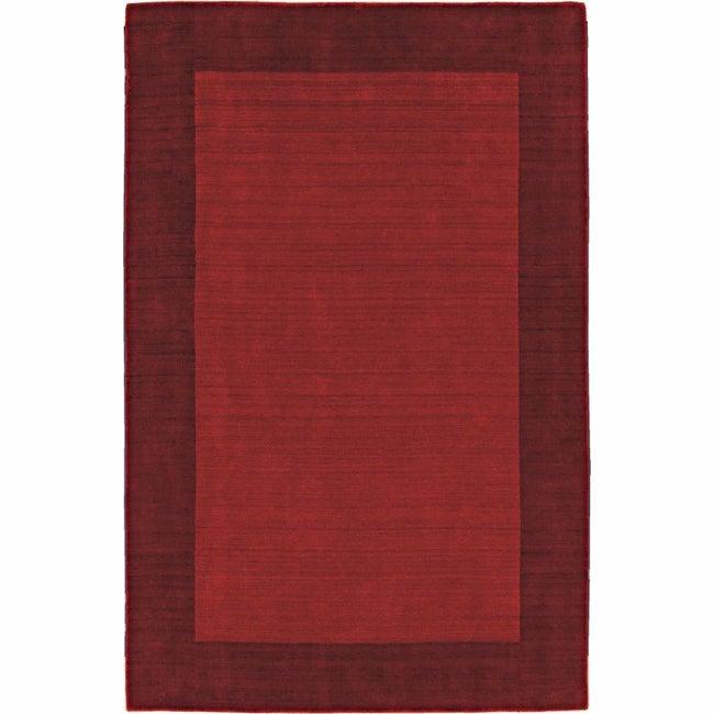 Handmade Alexa Zen Solid Border Red Wool Rug (8'3 x 11')
