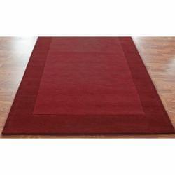 Handmade Alexa Zen Solid Border Red Wool Rug (8'3 x 11') - Thumbnail 1