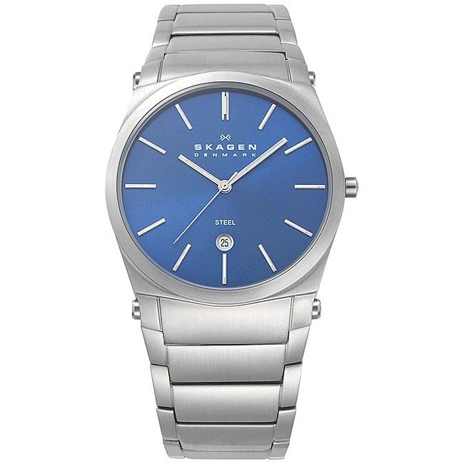 Skagen Men's Stainless Steel Blue Dial Watch