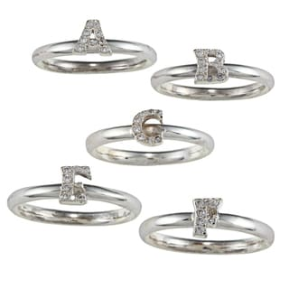 Sterling Silver Cubic Zirconia Initial Stackable Ring