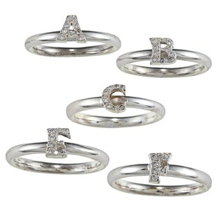 Initial Sterling Silver Cubic Zirconia Stackable Ring (More options available)