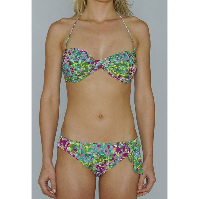 Island Love Young Missy 'Green Digital' Halter Bandeau Hipster Bikini