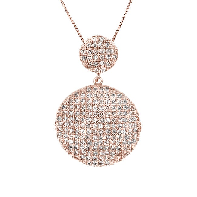 14k Rose Goldplated Clear CZ Cascading Circle Necklace
