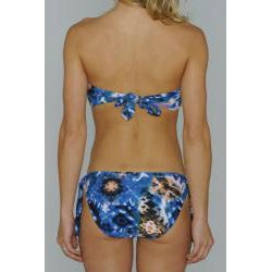 Island Love Young Missy 'Blue Tie Dye' Halter Bandeau Hipster Bikini - Thumbnail 1