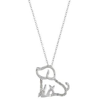 Sterling Silver 1/10ct TDW Diamond Dog Pet Necklace (J-K, I3)