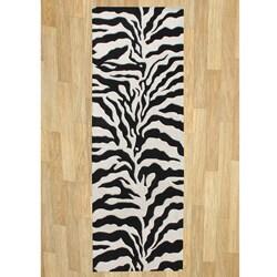 Alliyah Handmade Black New Zealand Blend Wool Rug (3' x 10')