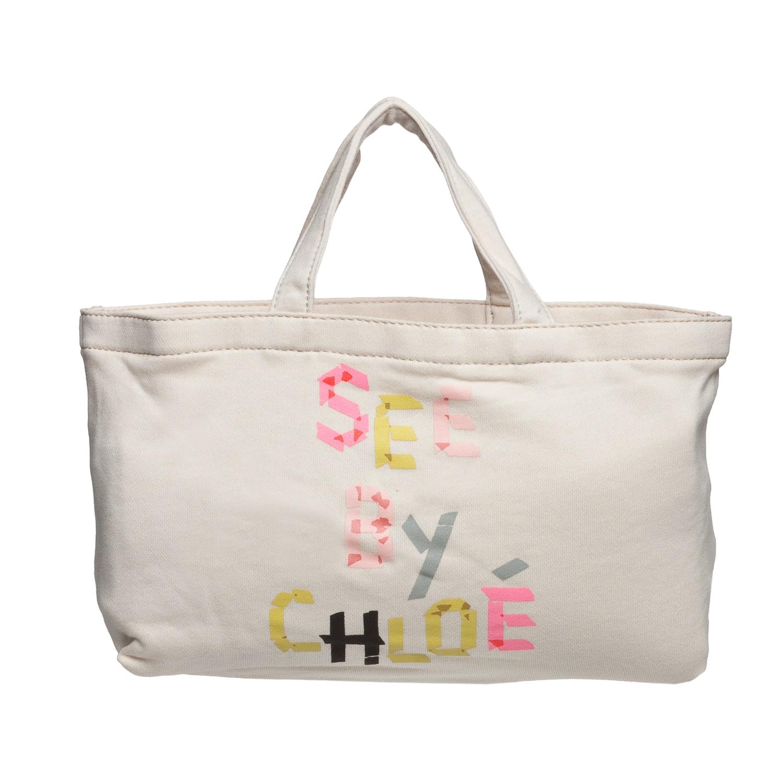 See by Chloe 9S7162 N173 525 Cream Mini Canvas Tote Bag