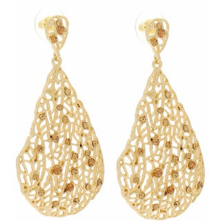 NEXTE Jewelry 14k Gold Overlay Champagne Rhinestone Filigree Earrings