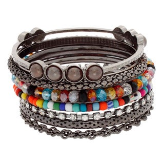 NEXTE Jewelry Black-plated Brass Colored Bead and Rhinestone Stackable 7-piece Bracelet Set