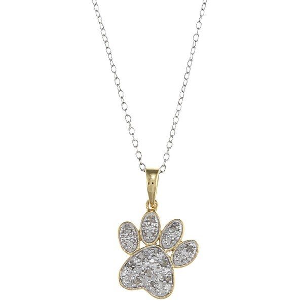 Two-tone Silver 1/10ct TDW Diamond Paw Necklace (J-K, I3)