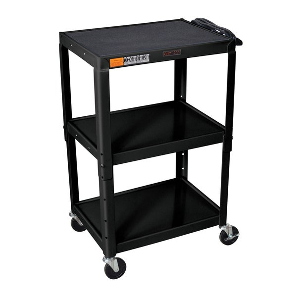 H. Wilson Metal Black Open Shelf Utility Audio Visual Cart