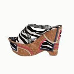 Italina by Beston Women's Zebra Cork Platforms - Thumbnail 1