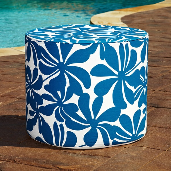 Brooklyn 16-inch Round Turquoise Floral Indoor/Outdoor Ottoman