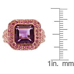 D'Yach D'yach Rose Gold over Silver Amethyst, Pink Sapphire and Thai Ruby Ring - Thumbnail 2