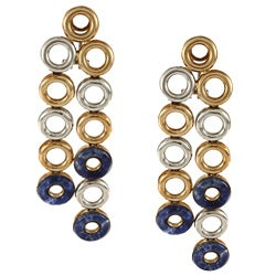 Pre-owned 18K Yellow Gold and Lapis Italian Chandelier Earrings