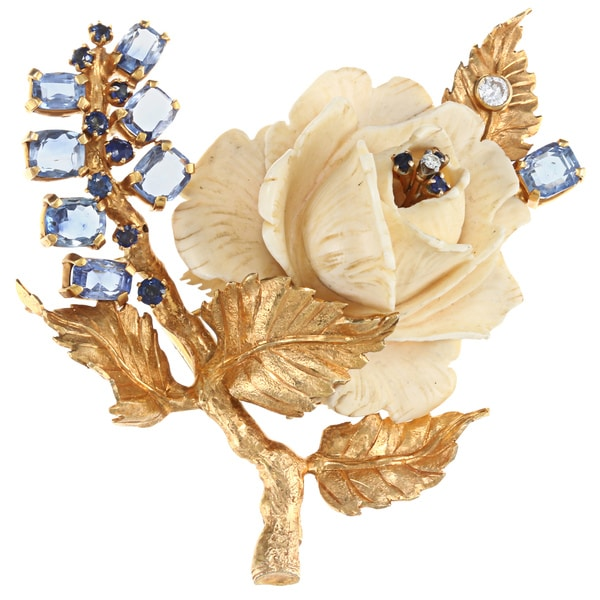 Pre-owned 18k Yellow Gold 1/3ct TDW 1960's Ivory Rose Brooch (G-H, SI1-SI2)