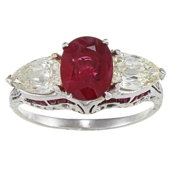 Platinum 1-2/5ct TDW Antique Ruby Ring (M-N, SI1-SI2)