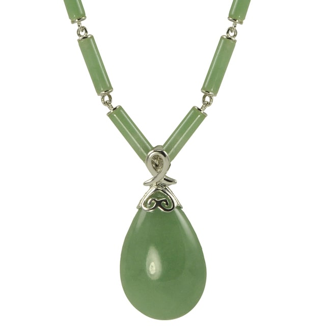 Gems For You Sterling Silver Green Jade Drop and Bead Necklace