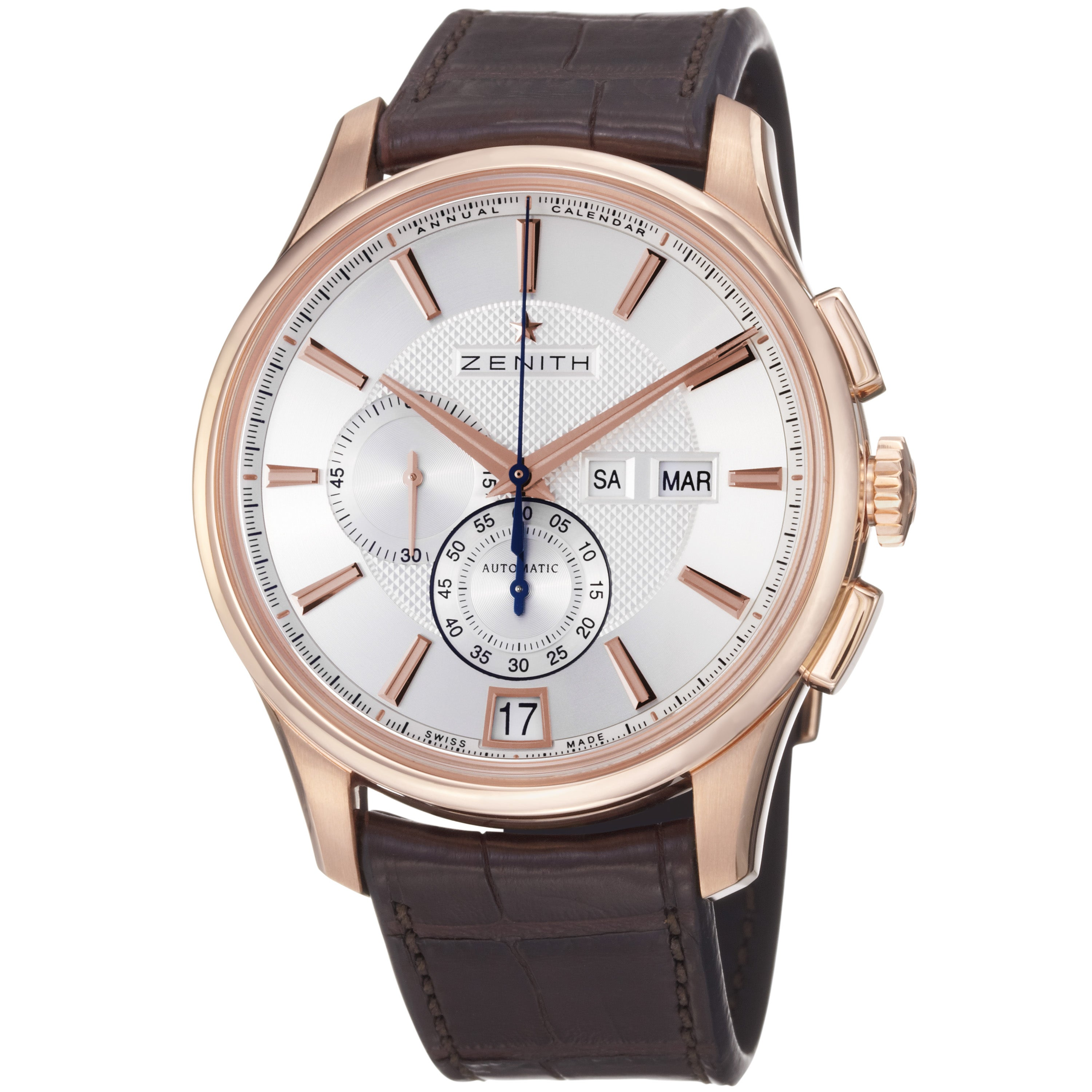 Zenith men 39 s 39 class winsor 39 rose gold leather strap chronograph watch for Leather watch for men