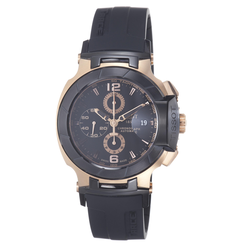 Tissot Men's T048.427.27.057.01 'T Race' Black Dial Rose Goldtone Chronograph Watch