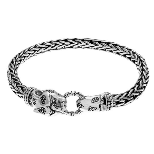 Sunstone Sterling Silver Lionhead Bali Foxtail Chain Bracelet