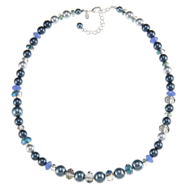 Roman Silvertone Blue Faux Pearl and Faceted Crystal Bead Necklace