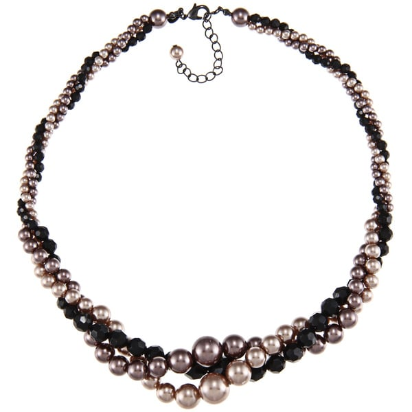 Roman Brown Faux Pearl and Black Plastic Bead Twist Necklace