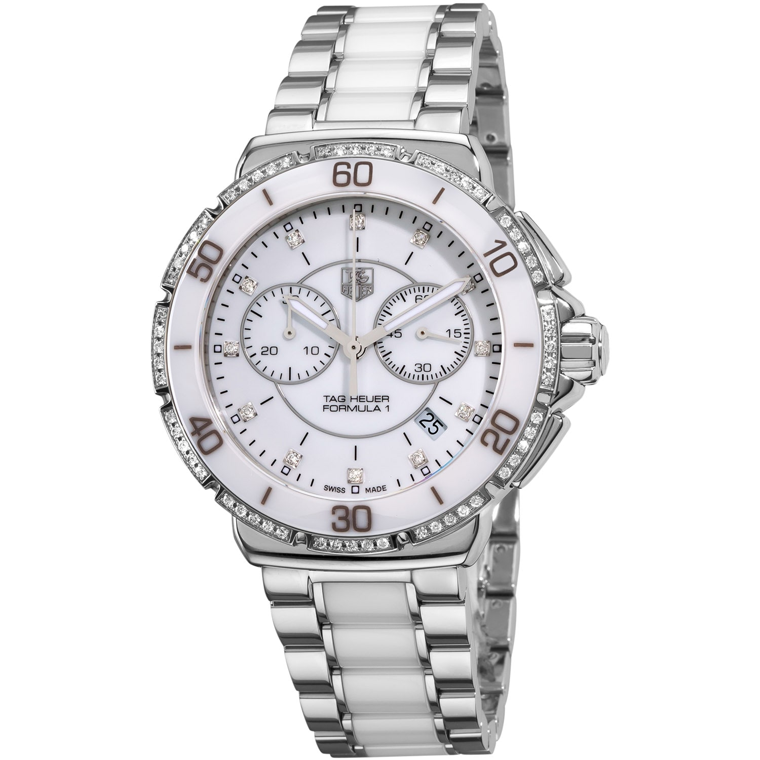 Tag Heuer Women's CAH1213.BA0863 'Formula 1' White Diamond Dial Chornograph Watch - Thumbnail 0
