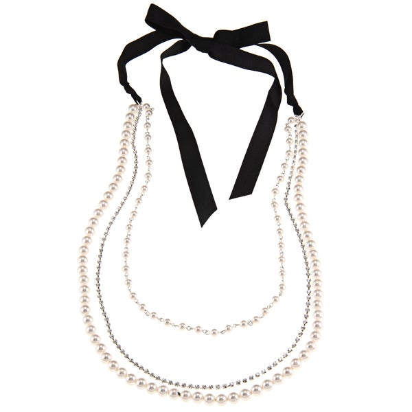 Roman Silvertone Faux Pearl and Crystal 3-row 36-inch Necklace