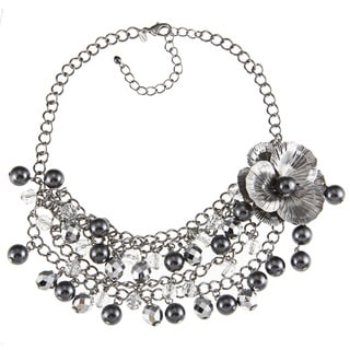 Roman Faux Black Pearl and Crystal Flower Bib Necklace