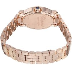 Chopard Women's 'Happy Sport Oval' White Dial Rose Gold Diamond Watch